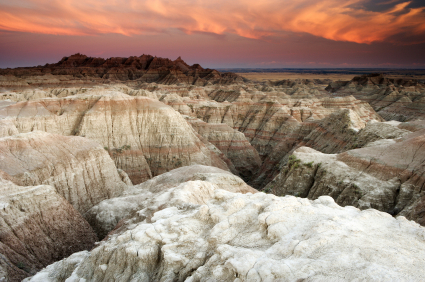 Badlands National Park, sunset, overlook